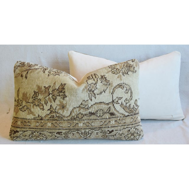 "Antique Soumak Carpet Wool Feather/Down Pillows 26"" X 16"" - Pair For Sale - Image 10 of 13"