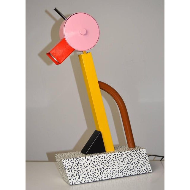 "An iconic ""Tahiti"" lamp by Ettore Sottsass for Memphis. Capturing the spirit of the Memphis movement, the lamp is composed..."