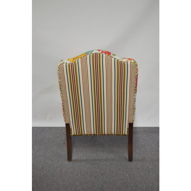 Modern Occasional Chair in Fabricut Print With Mohair For Sale - Image 4 of 7