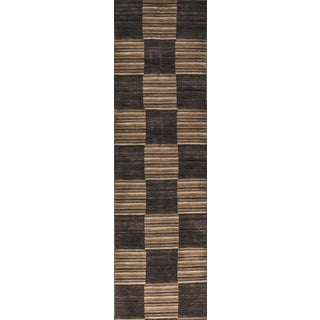 Contemporary Hand Woven Brown Checkered Wool Rug 2'8 X 9'2