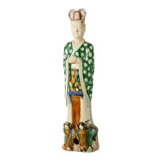 Terra Cotta Standing Court Official With 3 Color Glaze Qing Dynasty For Sale