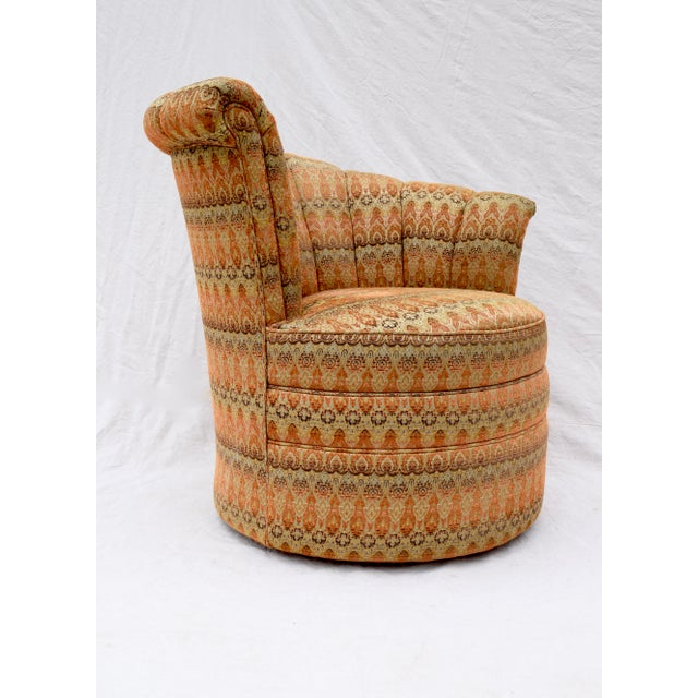 Channel Back Swivel Art Deco Inspired Chairs For Sale - Image 10 of 13