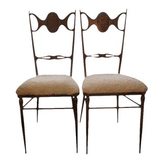 Mid-Century Italian Brass Chiavari Chairs Upholstered in Faux Rabbit-Pair For Sale