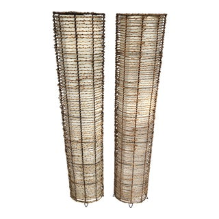 Organic Contemporary Woven Willow Branch Floor Lamps - a Pair For Sale