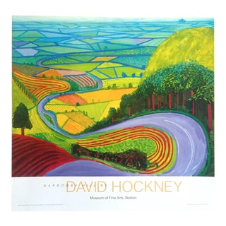 "David Hockney Expressionist Yorkshire Landscape Lithograph Print Museum Poster "" Garrowby Hill "" 1998 For Sale"
