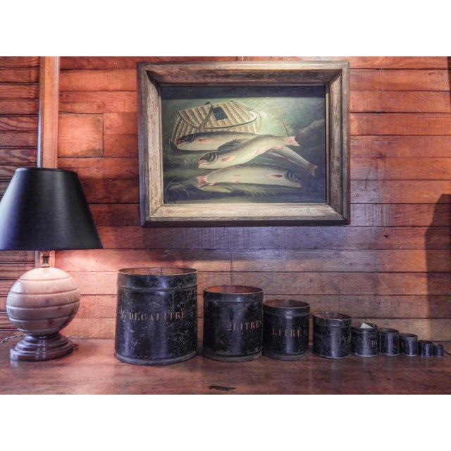 Oil Paint Trout and Creel Painting For Sale - Image 7 of 7