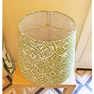 Custom Quadrille Fabric Blue and Green Lamp Shade Preview