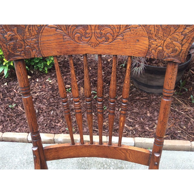 Antique Pressed Oak Spindle Back Chairs - Set of 6 For Sale - Image 4 of - Antique Pressed Oak Spindle Back Chairs - Set Of 6 Chairish
