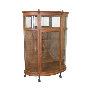 Antique Victorian Oak Claw Foot Bow Glass China Cabinet