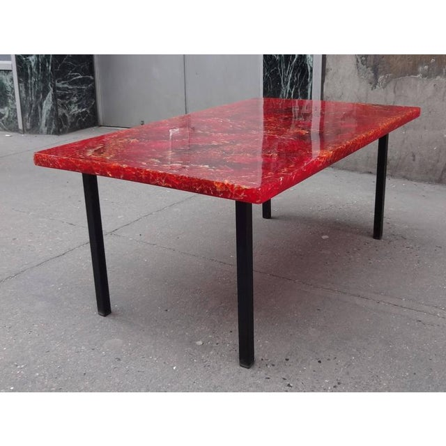 1960s Pierre Giraudon Style Mid-Century Cocktail Table in Crackled Resin in the Style France circa 1965 For Sale - Image 5 of 7