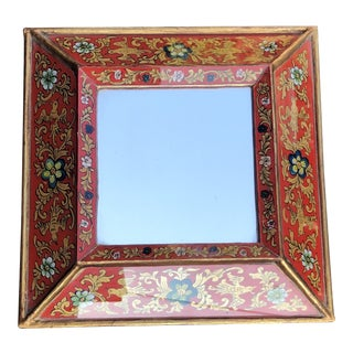 Italian Courting Mirror With Reverse-Painted Glass For Sale