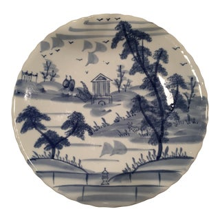 20th Century Chinoiserie Blue and White Scalloped Decorative Plate