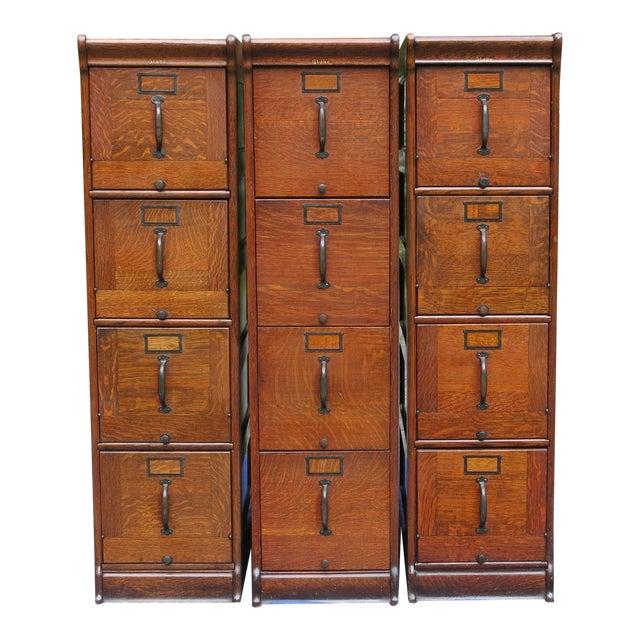 Antique Globe Oak File Cabinets - Set of 3 For Sale