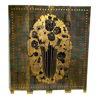 Vintage Art Deco E J Ruhlmann Style 4-Panel Room Divider Screen For Sale