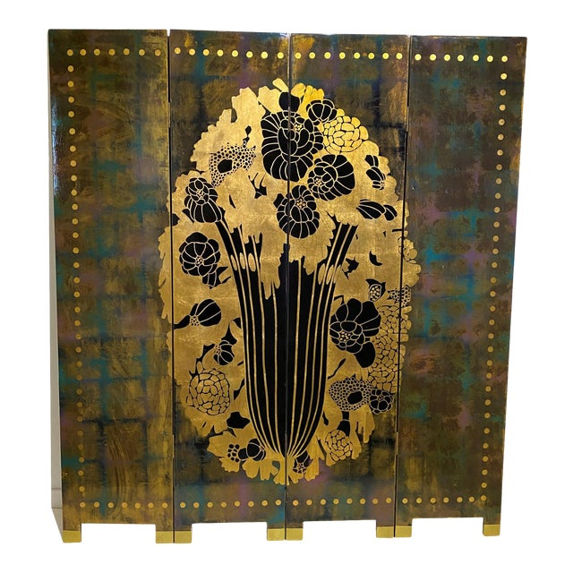 Vintage Art Deco E J Ruhlmann Style 4-Panel Room Divider Screen For Sale