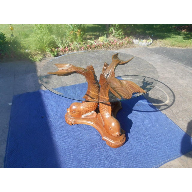 Vintage Hand-Carved Triple Dolphin Serpent Center Table For Sale - Image 10 of 10