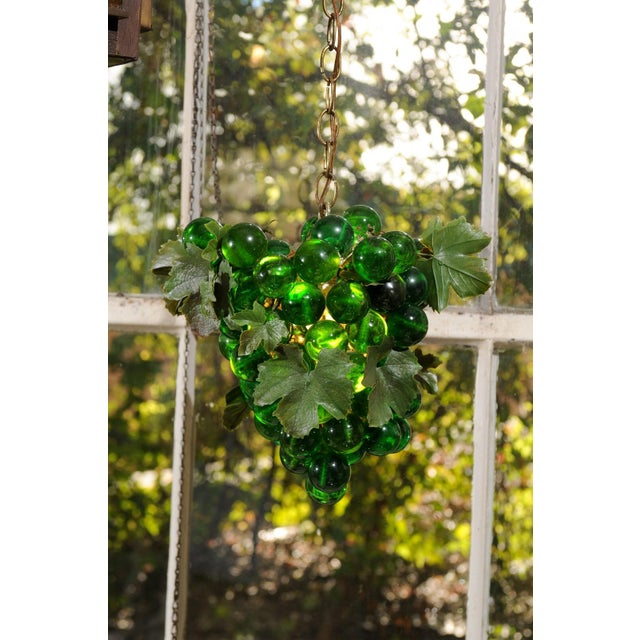 Metal Midcentury Grape Cluster Light of Green Lucite For Sale - Image 7 of 8