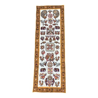 Boho Embroidered Textile Art Wall Hanging For Sale