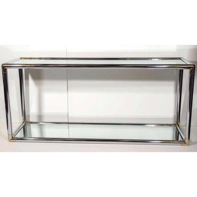 Italian Mid-Century Modern Mirrored and Chrome Two Tier Console Table, C. 1970 For Sale - Image 12 of 12