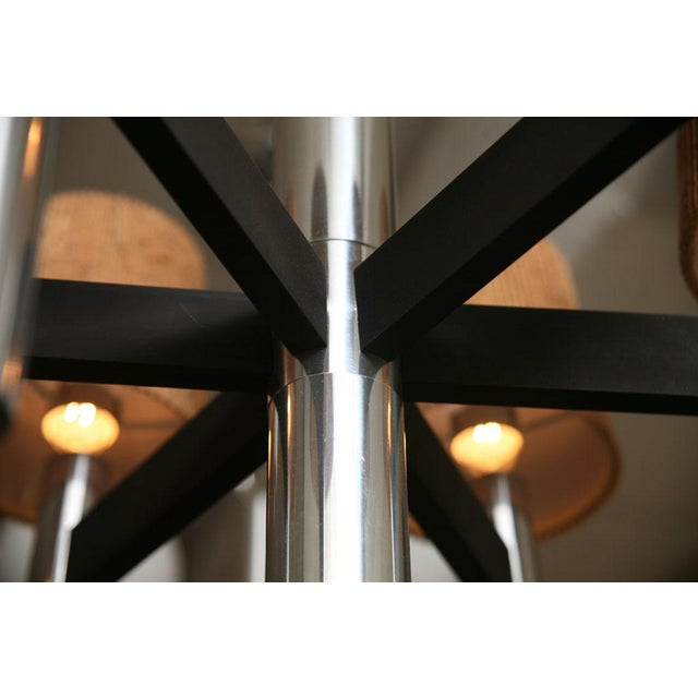 Smart 60's Chrome Tubular Chandelier with Cork Shades - Image 7 of 11