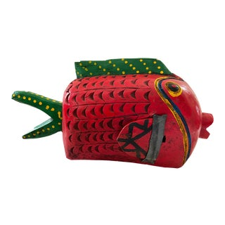 """African Wooden Fish Bozo Tribe Mali 17"""" For Sale"""