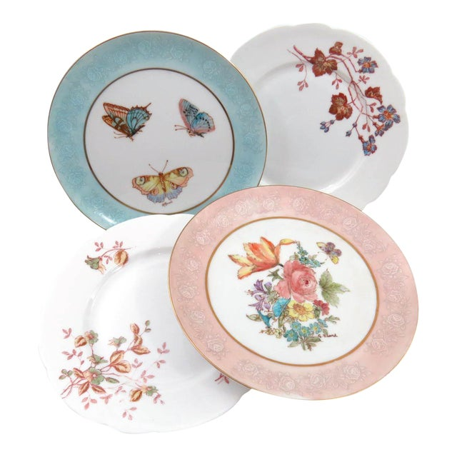 Mismatched Vintage Hand Painted Plates - Set of 4 - Image 1 of 11