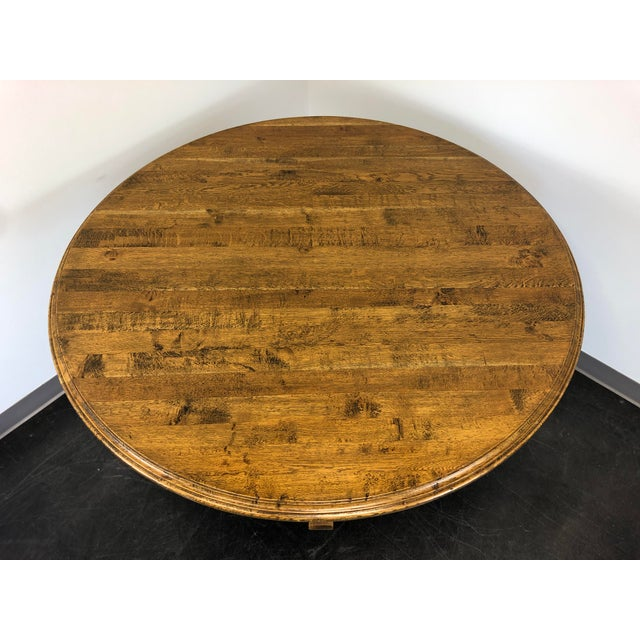 """Farmhouse Palacek 52"""" Round Transitional Cottage Style Pedestal Dining Table For Sale - Image 3 of 11"""