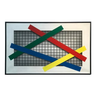 """Joseph Ramsauer Postmodern 1987 """"Primary Forms on Grid"""" Painting For Sale"""