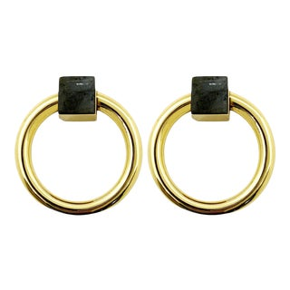 Addison Weeks Porter RIng Pull, Brass & Labradorite - a Pair For Sale