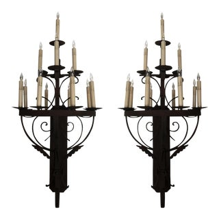 Large Wrought Iron Sconces - a Pair