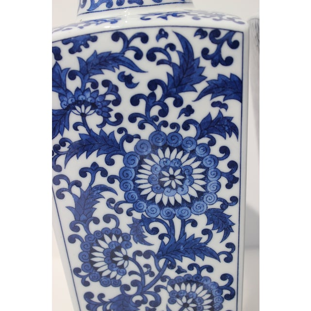 1980s Vintage Blue & White Silk Road Style Vases - a Pair For Sale - Image 5 of 9