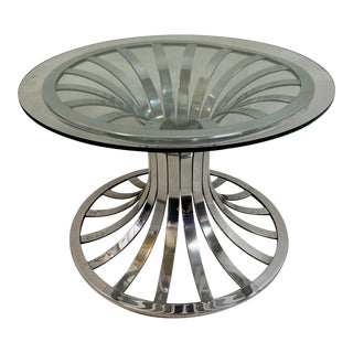 1960s Russell Woodard Polished Aluminum Vintage Side Table For Sale