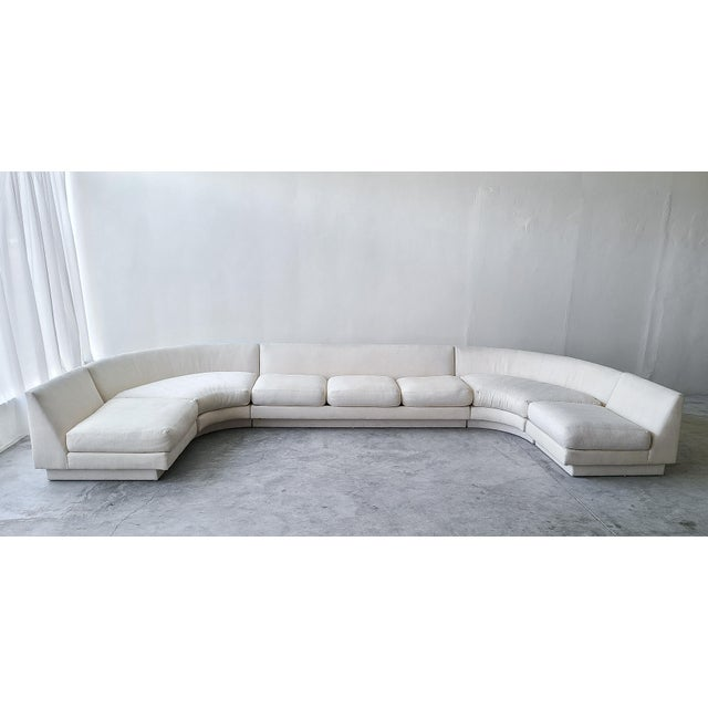 1980s Monumental Curved Modular Sectional Sofa by Directional For Sale - Image 5 of 9