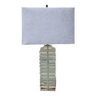 1960s Karl Springer Stacked Lucite Table Lamp With Shade For Sale