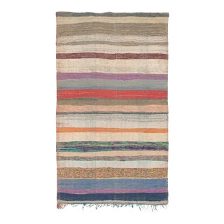 """Mid 20th Century Moroccan Rag Rug - 4'9"""" X 8'2"""" For Sale"""