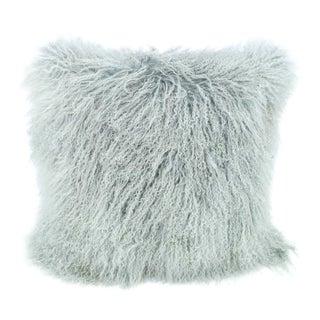 Pale Blue Mongolian Sheepskin Pillow by Tasha Tarno For Sale