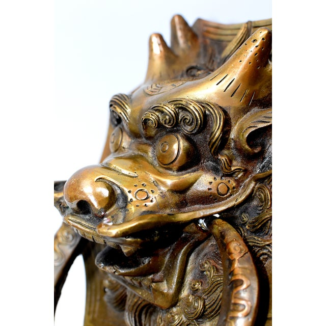 Late 20th Century Small Asian Dragon Door Knockers- a Pair For Sale - Image 11 of 13