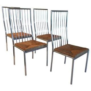 Mid-Century Italian Chrome and Rattan Dining Chairs - Set of 4 For Sale