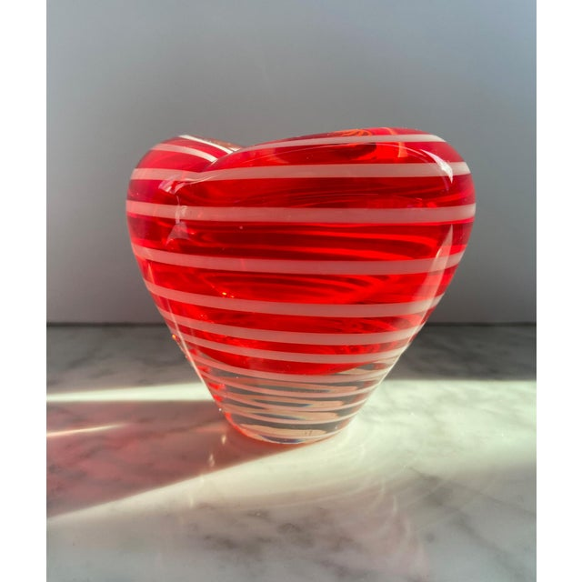 Beautiful Murano red and white striped heart vase, small format.