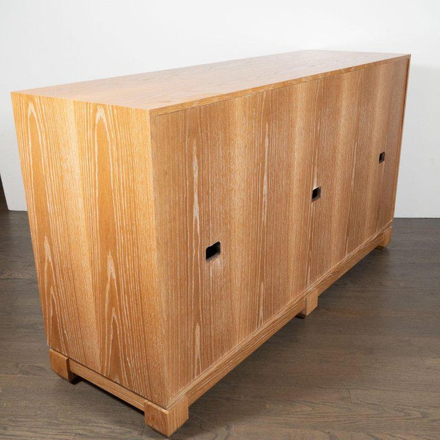 Modernist Bleached Cerused Oak and Grass Cloth Sideboard with Polished Nickel Pulls For Sale - Image 9 of 10