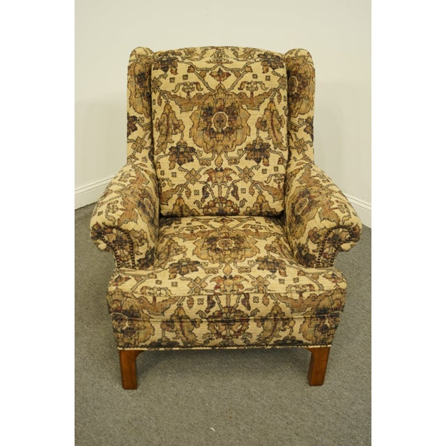 Traditional Late 20th Century Stickley Furniture Floral Upholstered Wing Back Arm Chair & Ottoman For Sale - Image 3 of 13