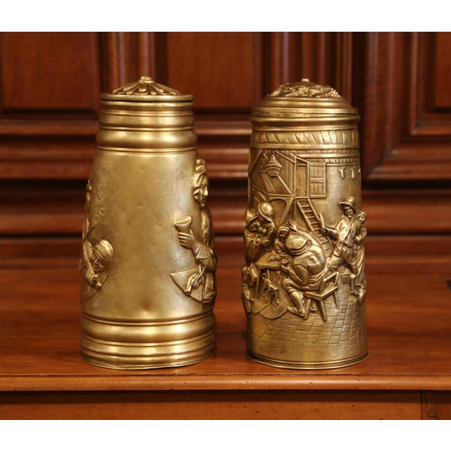Belgian 19th Century Belgium Brass Lidded Beer Pitchers With Repousse Decor - a Pair For Sale - Image 3 of 8