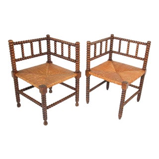 French Rush-Seat Corner Chairs in Turned Oak and Cane, France - a Pair For Sale