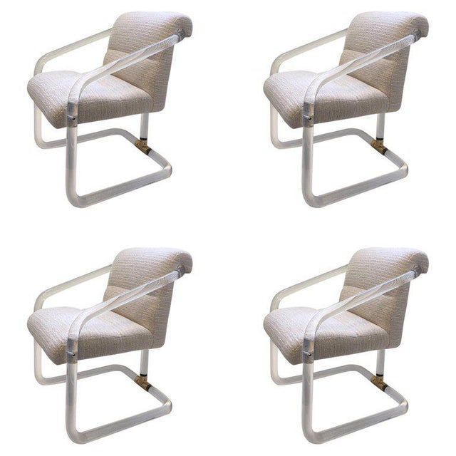 Set of Four Acrylic and Brass Chairs by Lion in Frost For Sale - Image 11 of 11