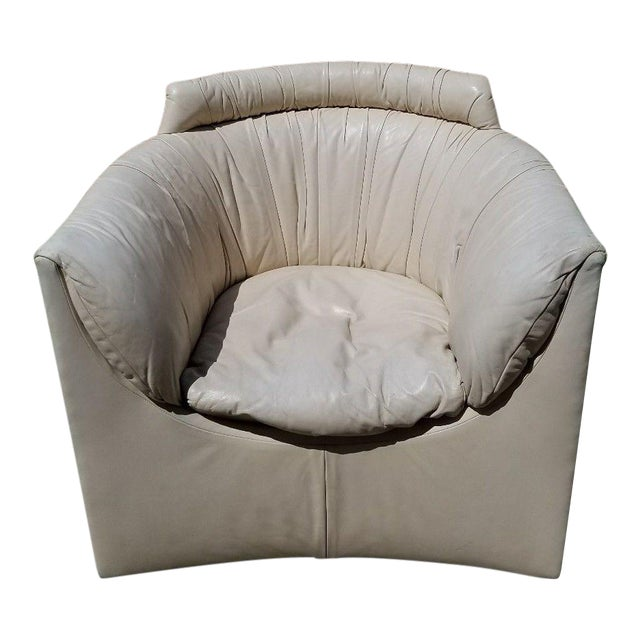 John Saladino for Baker Leather Swivel Lounge Chair For Sale
