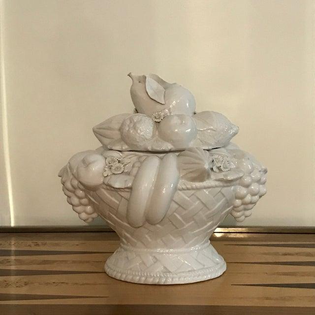 Italian White Ceramic Fruit Basket Centerpiece For Sale - Image 10 of 12