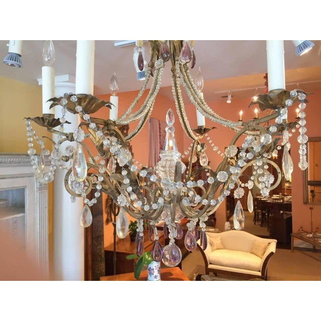 19th Century Italian Gilt Iron, Tole and Crystal Chandelier For Sale - Image 4 of 8
