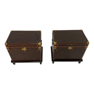 Leather Military Trunks on Stands With Brass Decoration -A Pair For Sale