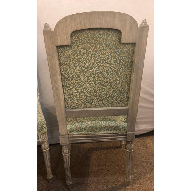 Pair of 19th-20th Century Paint Decorated Louis XVI Style Swedish Side Chairs For Sale In New York - Image 6 of 13