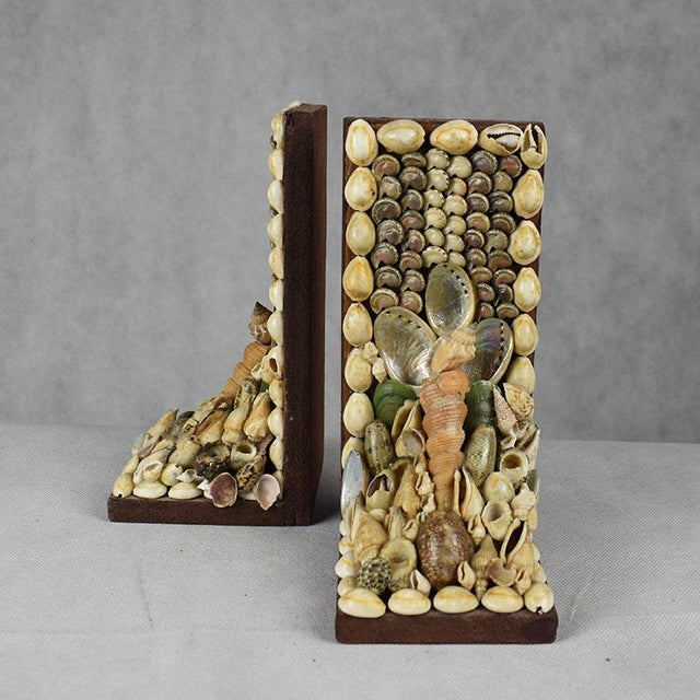 Shell Encrusted Bookends - a Pair For Sale - Image 4 of 9